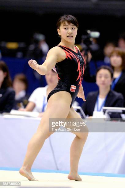 Mai Murakami competes in the Women's Floor during day three of the All Japan Artistic Gymnastics Championships at Tokyo Metropolitan Gymnasium on...