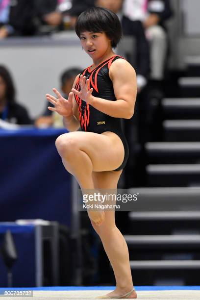 Mai Murakami competes on the Floor exercise during Japan National Gymnastics Apparatus Championships at the Takasaki Arena on June 25 2017 in...