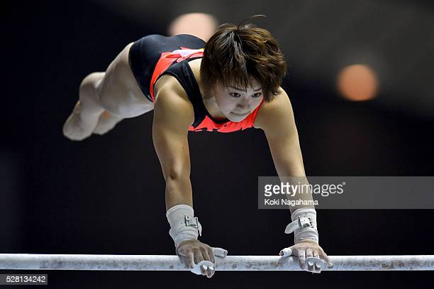 Mai Murakami comyetes in the Uneven Parallel Bars during the Artistic Gymnastics NHK Trophy at Yoyogi National Gymnasium on May 4 2016 in Tokyo Japan