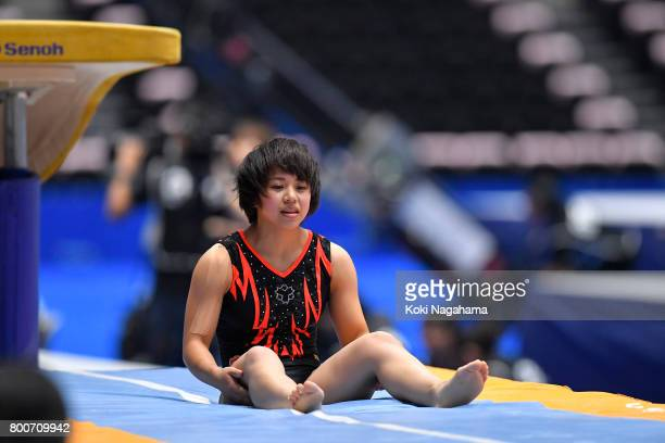 Mai Murakami looks dejected in the Women's Vault during Japan National Gymnastics Apparatus Championships at the Takasaki Arena on June 25 2017 in...