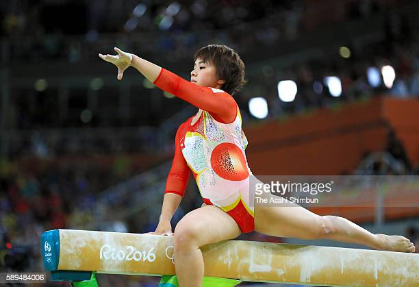 Mai Murakami of Japan competes in the balance beam during the Artistic Gymnastics Women's Team Final on Day 4 of the Rio 2016 Olympic Games at the...