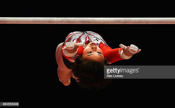 Mai Murakami of Japan competes in the Uneven Bars during Day 5 of the 2015 World Artistic Gymnastics Championships at The SSE Hydro on October 27...