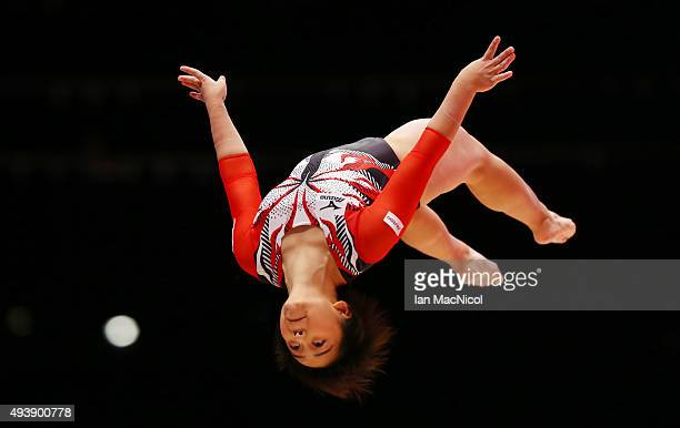 Mai Murakami of Japan competes on the Beam during Day One of the 2015 World Artistic Gymnastics Championships at The SSE Hydro on October 23 2015 in...