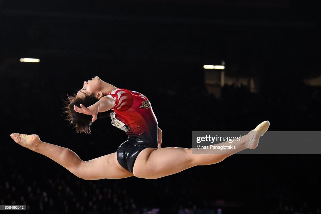 Mai Murakami of Japan competes on the floor exercise during the women's individual all-around final of the Artistic Gymnastics World Championships on October 6, 2017 at Olympic Stadium in Montreal, Canada.