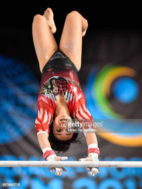 Mai Murakami of Japan competes on the uneven bars during the qualification round of the Artistic Gymnastics World Championships on October 4 2017 at...