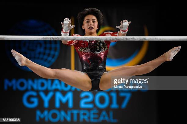 Mai Murakami of Japan competes on the uneven bars during the women's individual allaround final of the Artistic Gymnastics World Championships on...
