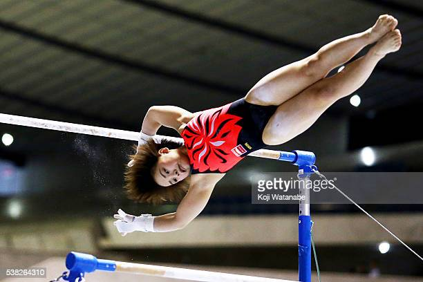 Mai Murakami on the uneven bars during the AllJapan Gymnastic Appratus Championshipsat Yoyogi National Gymnasium on June 5 2016 in Tokyo Japan