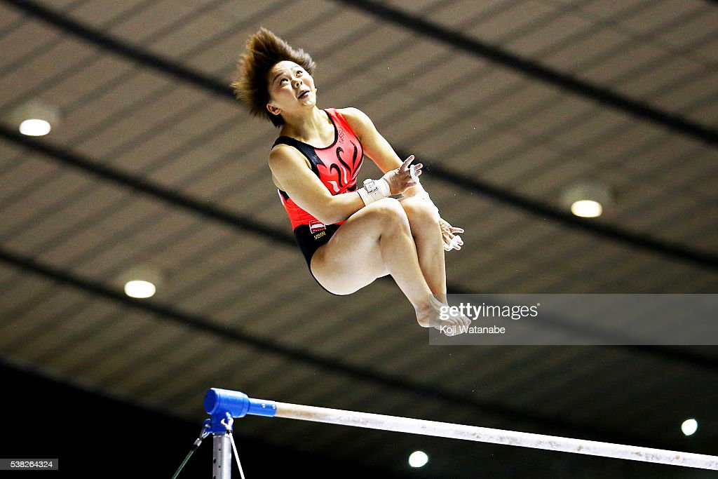 Mai Murakami on the uneven bars during the All-Japan Gymnastic Appratus Championshipsat Yoyogi National Gymnasium on June 5, 2016 in Tokyo, Japan.