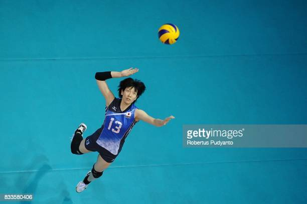 Mai Okumura of Japan spikes during the 19th Asian Senior Women's Volleyball Championship 2017 Final match between Thailand and Japan at Alonte Sports...