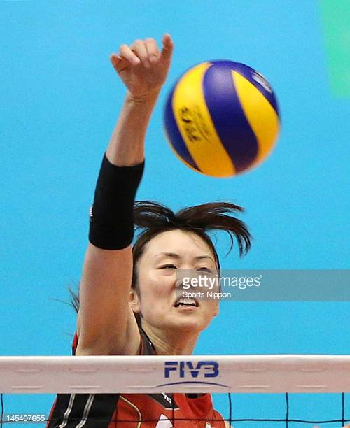 Mai Yamaguchi of Japan spikes the ball during the FIVB Women's World Olympic Qualification tournament match between Japan and Thailand at Yoyogi...