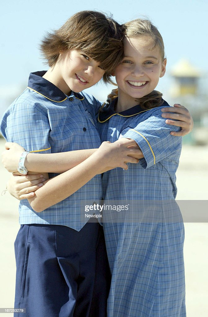 Maia Mitchell and Marny Kennedy on the set of the children's television show 'Mortified' at Currumbin on July 18, 2005 on the Gold Coast, Queensland.