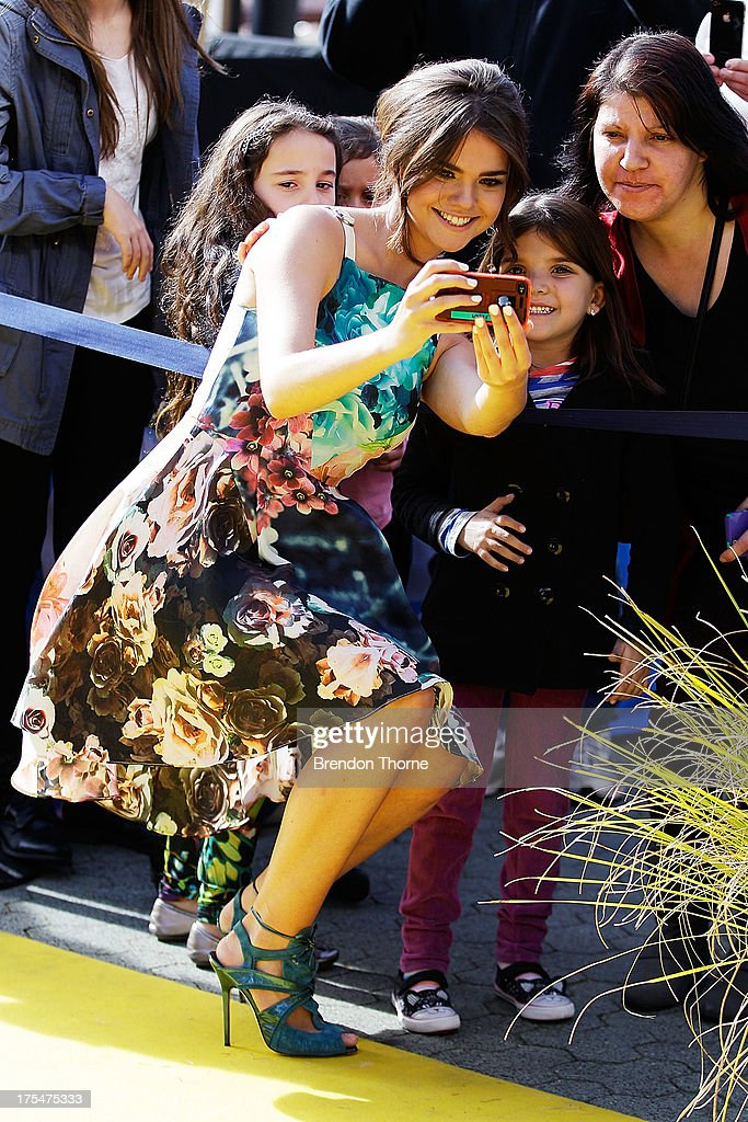 <a gi-track='captionPersonalityLinkClicked' href=/galleries/search?phrase=Maia+Mitchell&family=editorial&specificpeople=9453855 ng-click='$event.stopPropagation()'>Maia Mitchell</a> arrives at the Australian premiere of 'Teen Beach Movie' at The Entertainment Quarter on August 4, 2013 in Sydney, Australia.
