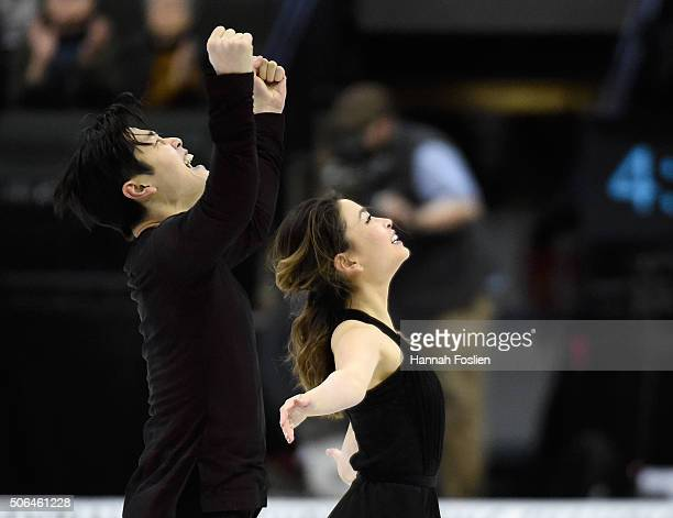 Maia Shibutani and Alex Shibutani celebrate after competing in the Free Dance at the 2016 Prudential US Figure Skating Championship on January 23...