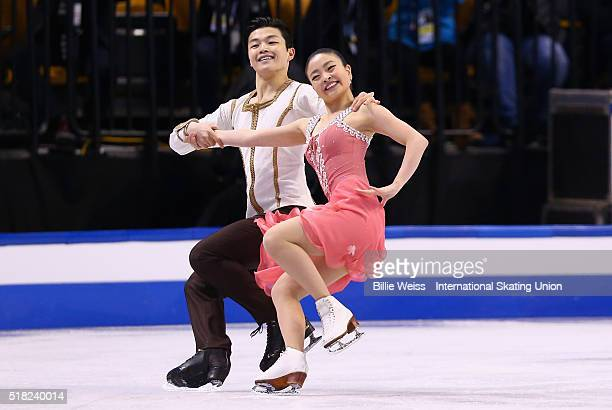 Maia Shibutani and Alex Shibutani of the United States compete during Day 3 of the ISU World Figure Skating Championships 2016 at TD Garden on March...