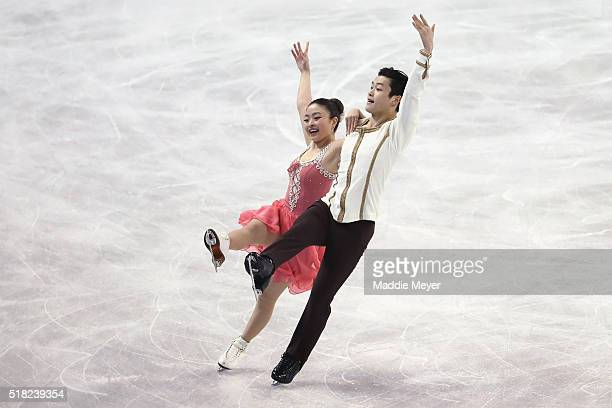 Maia Shibutani and Alex Shibutani of the United States skate in the Ice Dance Short program during day 3 of the ISU World Figure Skating...