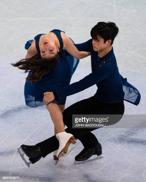 Maia Shibutani and Alex Shibutani of the US compete to place third in the Ice Dance / Free Dance event at the ISU World Figure Skating Championships...