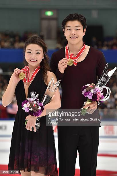 Maia Shibutani and Alex Shibutani of the USA pose with thier gold medal during the day three of the NHK Trophy ISU Grand Prix of Figure Skating 2015...