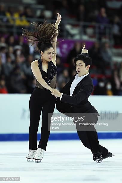 Maia Shibutani and Alex Shibutani of United States compete during Senior Ice Dance Short Dance on day two of the ISU Junior and Senior Grand Prix of...