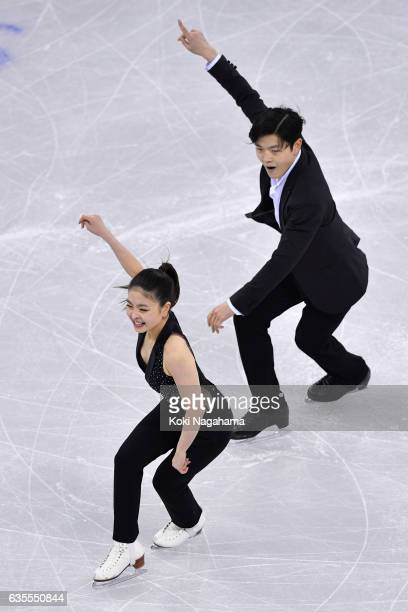 Maia Shibutani and Alex Shibutani of United States compete in the Ice Dance Short Dance during ISU Four Continents Figure Skating Championships...