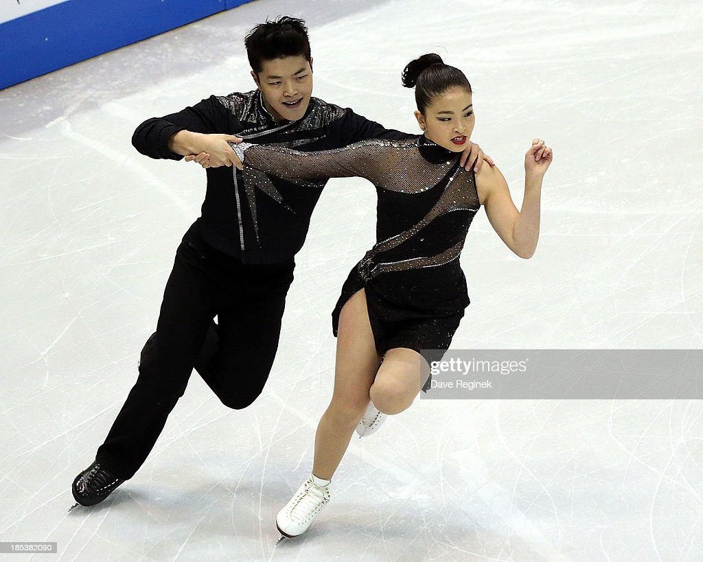 Maia Shibutani (R) and Alex Shibutani perform during the free dance of day two at Skate America at Joe Louis Arena on October 19, 2013 in Detroit, Michigan.