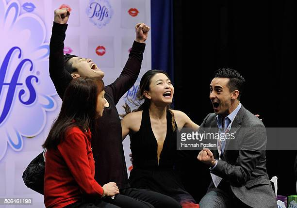 Maia Shibutani and Alex Shibutani react to their scores after competing in the Free Dance at the 2016 Prudential US Figure Skating Championship on...