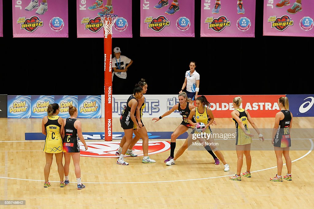 Maia Wilson of the Central Pulse during the round nine ANZ Championship match between the Magic and the Pulse at ASB Baypark Stadium on May 30, 2016 in Mount Maunganui, New Zealand.