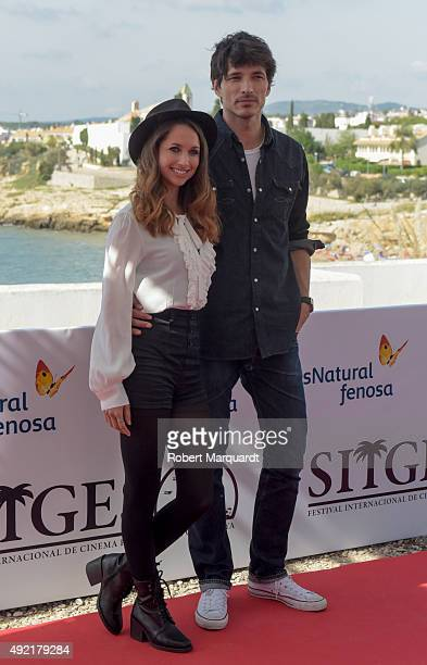 Maiara Walsh and Andres Velencoso attend a photocall for their latest film 'Summer Camp' at the 48th Sitges Film Festival on October 10 2015 in...
