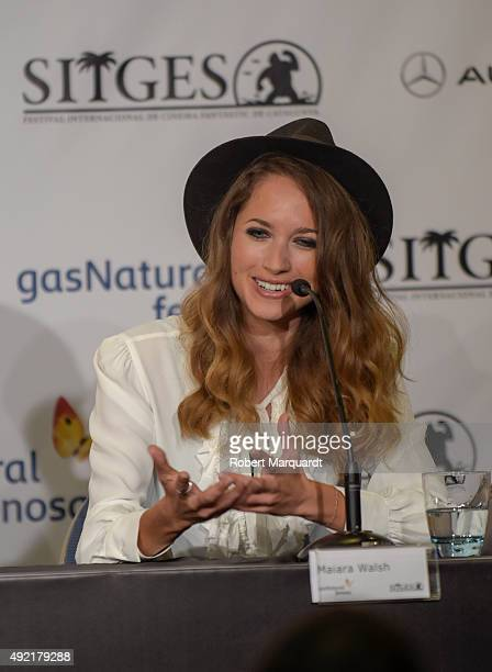 Maiara Walsh attends a press conference for her latest film 'Summer Camp' at the 48th Sitges Film Festival on October 10 2015 in Sitges Spain