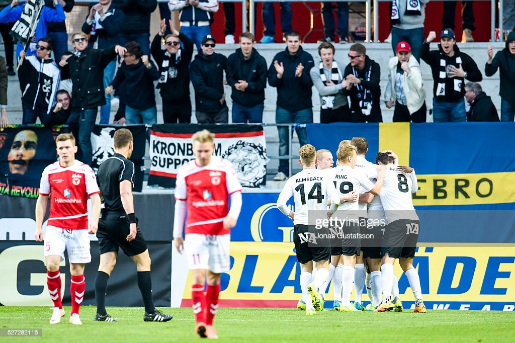 Maic Sema of Orebro SK celebrates after scoring 1-2 during the Allsvenskan match between Kalmar FF and Orebro SK at Guldfageln Arena on May 2, 2016 in Kalmar, Sweden.