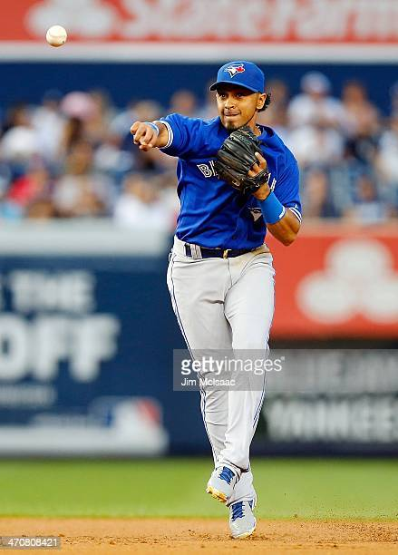 Maicer Izturis of the Toronto Blue Jays in action against the New York Yankees at Yankee Stadium on August 20 2013 in the Bronx borough of New York...