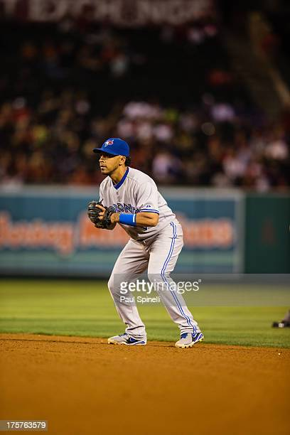 Maicer Izturis of the Toronto Blue Jays plays second base during the game against the Los Angeles Angels of Anaheim on Friday August 2 2013 at Angel...