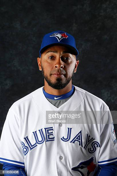 Maicer Izturis of the Toronto Blue Jays poses for a photo during the Blue Jays' photo day on February 27 2016 in Dunedin Florida