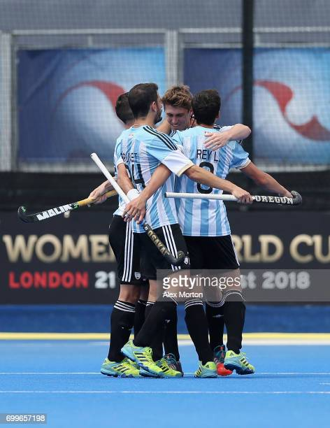 Maico Casella of Argentina celebrates scoring his teams first goal with teammates during the quarter final match between Argentina and Pakistan on...