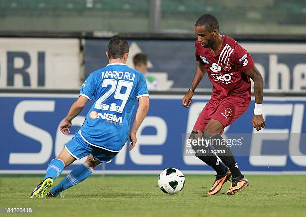 Maicon Da Silva of Reggina competes for the ball with Mario Rui of Empoli during the Serie B match between Reggina Calcio and Empoli FC at Stadio...