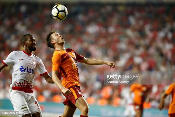 Maicon of Antalyaspor in action against Linnes of Galatasaray during the 4th week of the Turkish Super Lig match between Antalyaspor and Galatasaray...