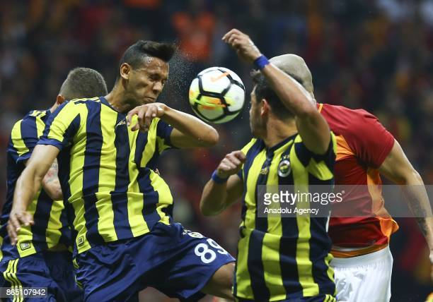 Maicon of Galatasaray in action against Josef De Souza of Fenerbahce during a Turkish Super Lig match between Galatasaray and Fenerbahce at Ali Sami...