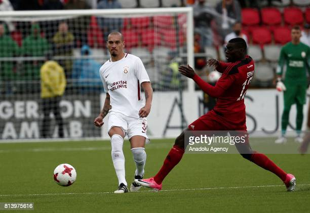Maicon of Galatasaray in action against Ken Sema during the UEFA Europa League 2nd Qualifying Round soccer match between Galatasaray and Ostersund FK...