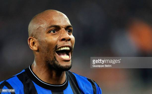 Maicon of Inter celebrates the victory after the match the Tim Cup between FC Internazionale Milano and AS Roma at Stadio Olimpico on May 5 2010 in...