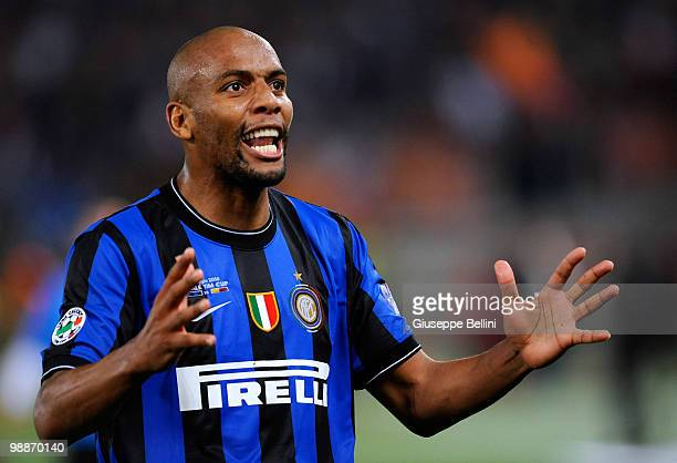 Maicon of Inter celebrates victory after the Tim Cup match between FC Internazionale Milano and AS Roma at Stadio Olimpico on May 5 2010 in Rome Italy