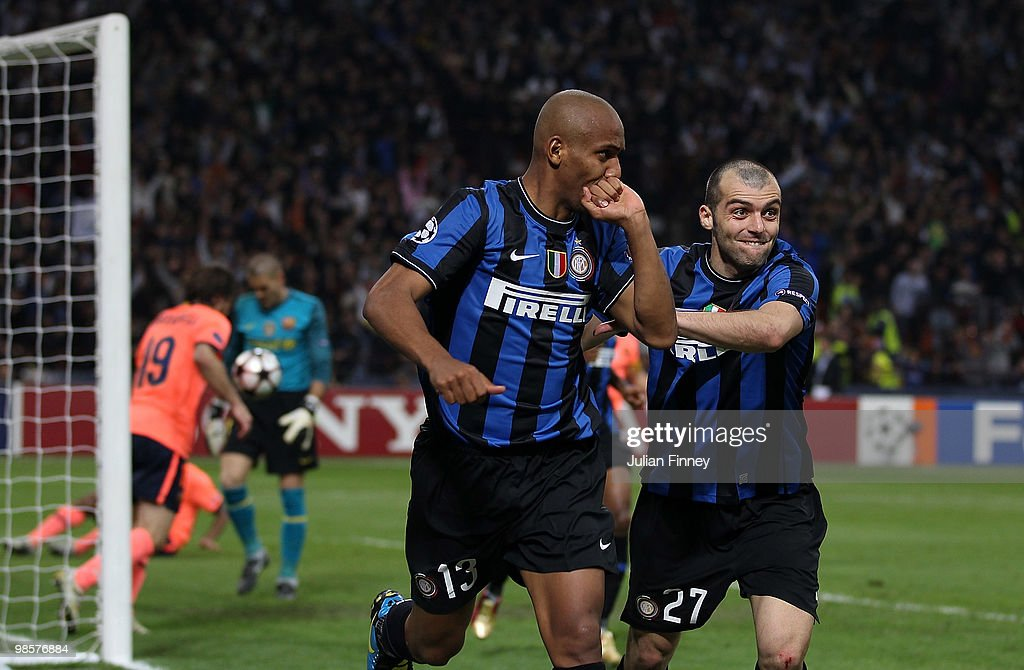 Maicon of Inter celebrates with teammate <a gi-track='captionPersonalityLinkClicked' href=/galleries/search?phrase=Goran+Pandev&family=editorial&specificpeople=800427 ng-click='$event.stopPropagation()'>Goran Pandev</a> (R) after scoring the 2:1 goal during the UEFA Champions League Semi Final 1st Leg match between Inter Milan and Barcelona at the San Siro on April 20, 2010 in Milan, Italy.
