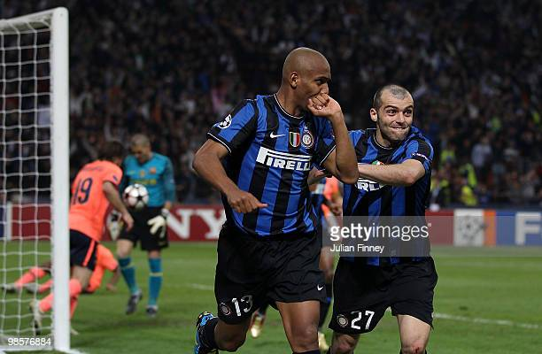 Maicon of Inter celebrates with teammate Goran Pandev after scoring the 21 goal during the UEFA Champions League Semi Final 1st Leg match between...