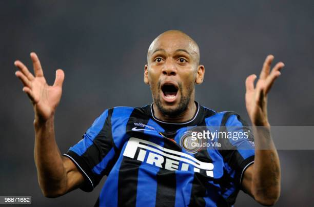 Maicon of Inter Milan celebrates during the Tim Cup final between FC Internazionale Milano and AS Roma at Stadio Olimpico on May 5 2010 in Rome Italy