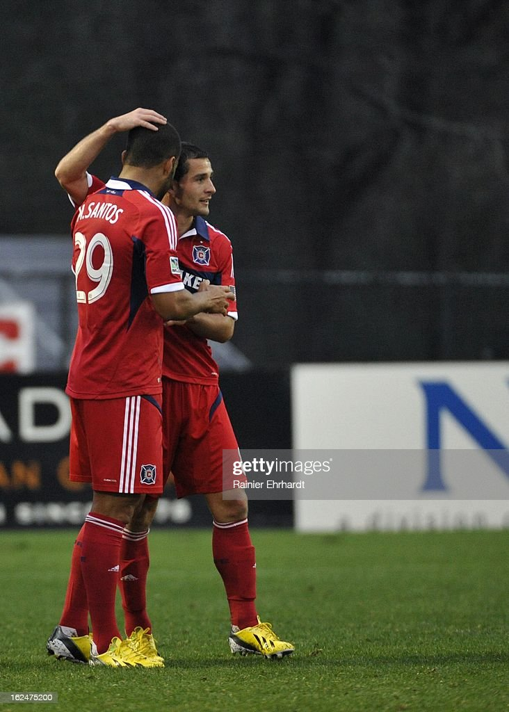Maicon Santos #29 of the Chicago Fire celebrates with teammate Dilly Duka #8 after scoring a goal against the Vancouver Whitecaps FC during the second half of a game at Blackbaud Stadium on February 23, 2013 in Charleston, South Carolina.