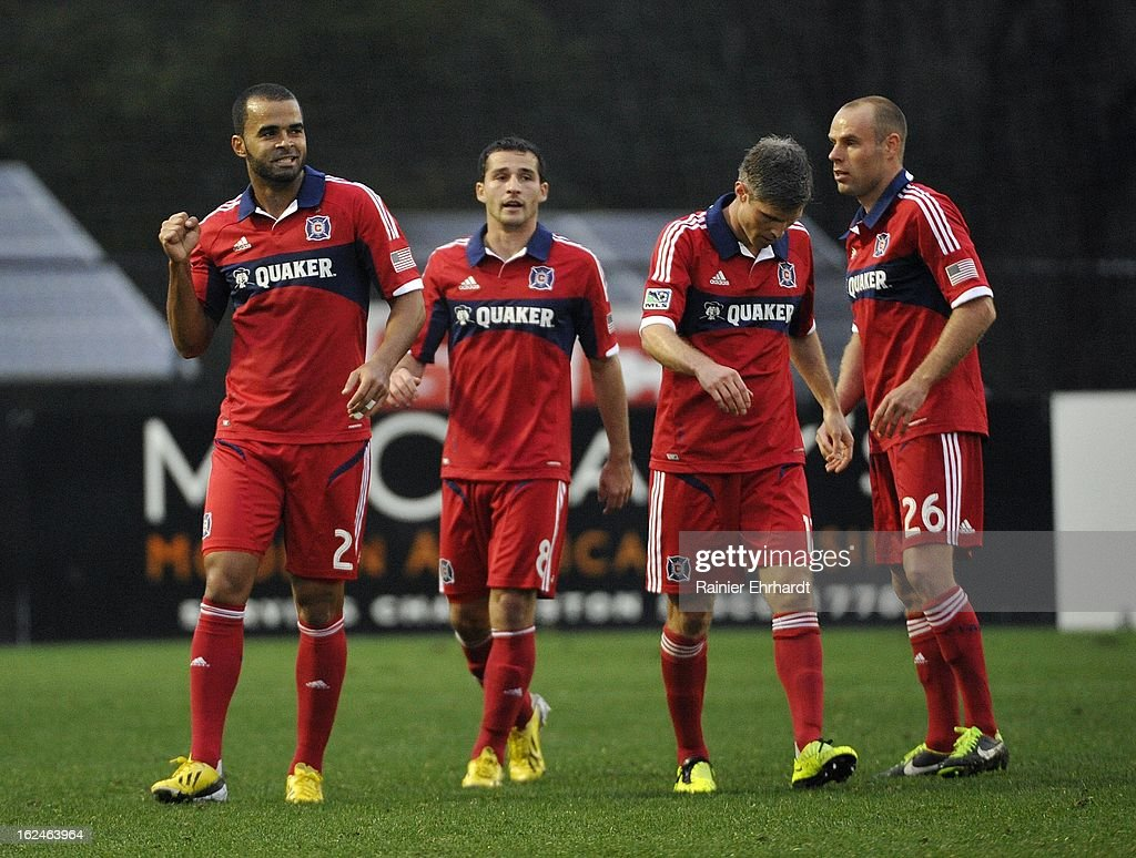 Maicon Santos # 29 of the Chicago Fire celebrates with teammates after scoring a goal against the Vancouver Whitecaps FC during the second half of a game at Blackbaud Stadium on February 23, 2013 in Charleston, South Carolina.