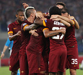 Maicon with his teammates of AS Roma celebrates after scoring the third team's goal during the UEFA Champions League Group E match between AS Roma...