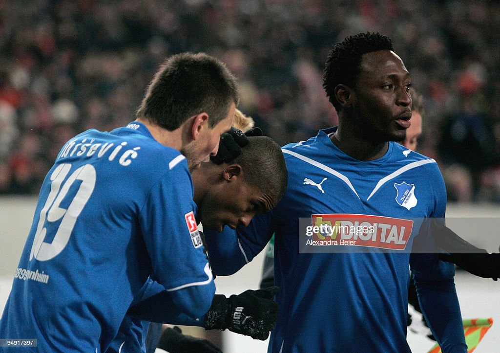 Maicosuel (C), Vedad Ibisevic (L) and Chinedu Obasi of Hoffenheim celebrates his goal during the Bundesliga soccer match between VfB Stuttgart and 1899 Hoffenheim at Mercedes-Benz Arena on December 19, 2009 in Stuttgart, Germany.