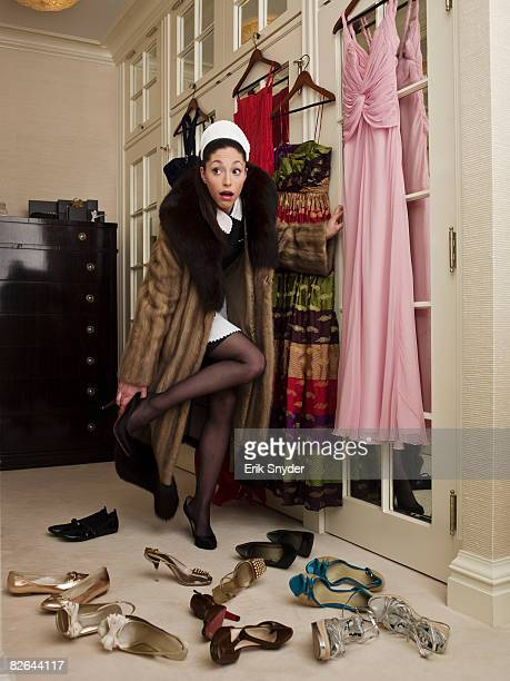 Maid being caught in home owners closet.