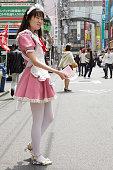 Maid handing out flyers, Akiharbara, Tokyo, Japan