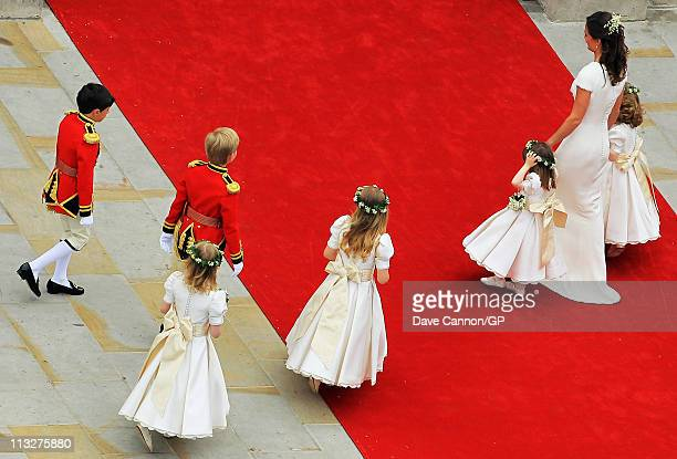 Maid of Honour Pippa Middleton escorts the young page boys and bridesmaids before the Royal Wedding of Prince William to Catherine Middleton on April...
