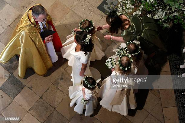 Maid of Honour Pippa Middleton sister of Catherine Middleton and bridesmaids speak to Stephen Lamport Receiver General of Westminster Abbey as they...